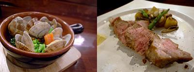 Roue Boeuf (ルーブーフ):アサリと季節野菜の白ワイン蒸し、鹿児島産 黒豚肩ロースのロースト ブラックペッパーと岩塩