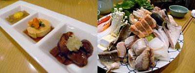 生け簀 寿司割烹 魚村(ぎょそん):旬の珍味三種盛、海鮮寄せ鍋