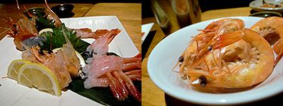笑うだるま 大名店:海老の刺身三種盛り、海老のバケツ盛り