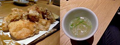 水炊き 橙:唐揚げ、水炊きスープ