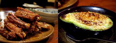 ピリ辛チキンバー&アボカドの塩辛焼き