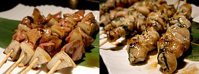 炭火酒家 TORI-BUDOU(とりぶどう):地鶏白レバーと、せせり紫蘇巻き