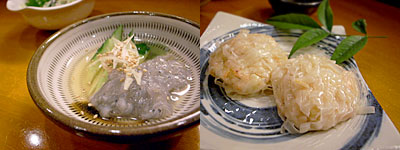 おかずと煮物 陽向(ひなた):生しらすの酢の物、桜海老の海鮮しゅうまい