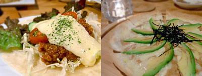 hiding place dining Take Off (テイクオフ):激辛!青トウガラシ入りタコス、アボカドと黒豆納豆のパリパリピザ