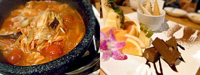 hiding place dining Take Off (テイクオフ):石焼トマト鍋、きまぐれプレートの4種盛り