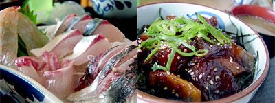 関鯖関鯵定食と琉球丼