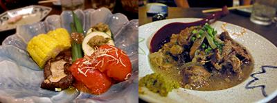 蒸し料理 musumatsu (むすまつ):蒸し野菜5種盛り、牛スジ煮込み
