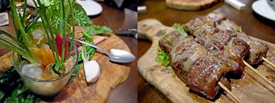 ワイン食堂 根(コン):糸島野菜たっぷりのバーニャ畑、豚レバー串焼き