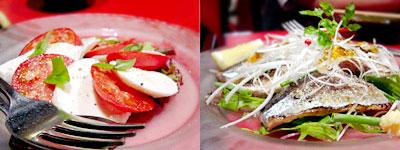 トマトと生モッツァレラチーズのカプリ風、北海道産サンマの炙りカルパッチョ
