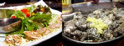みやざき地頭鶏料理専門店 ぐんけい 西中洲店:みやざき地頭鶏のカルパッチョ、みやざき地頭鶏のもも焼き