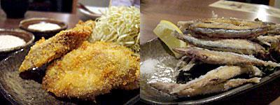 高砂2丁目厨房 三輪商店:まぐろカツ タルタル付き、キビナゴの唐揚げ