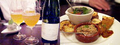 白ワインと本日のおまかせオードブル五種盛り