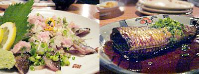 秋刀魚のあぶり、イワシの煮物