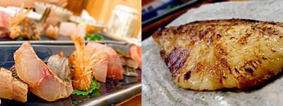 ろばた焼 磯貝 天神店:刺盛り、つぼ鯛みそ焼き