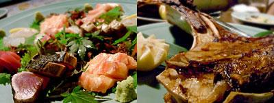 漁師料理 とろ家:トロ入り刺身盛り合わせ、まぐろカマ焼き