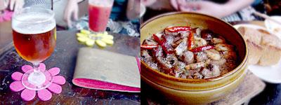 ジャポニカ:バスベールエールと、マッシュルームとニンニクの土鍋