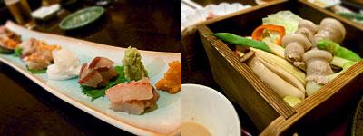 旬菜旬魚 あんどう:お造りの盛り合わせ、野菜と国産豚のセイロ蒸し