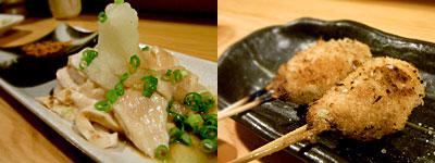 炭火焼き鳥×ワイン しろきじ:鶏のタタキおろしポン酢、つくね(塩)