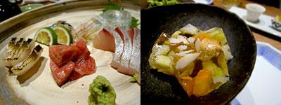 柳町 一刻堂 春吉店:刺身5点盛り、野菜のゼリーよせ
