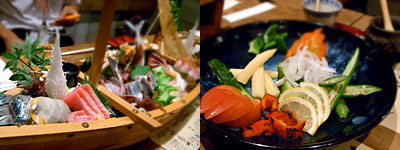 磯ぎよし(いさぎよし):旬の刺身盛り合わせ、季節野菜のバーニャカウダ