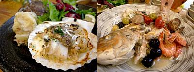 海鮮角打イタリアン じゃこくじら:帆立のカニみそ焼き、真鯛のアクアパッツァ