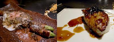 ステーキハウス ミディアムレア:糸島産 豚巻きアスパラガス、フォアグラのソテー お寿司仕立て