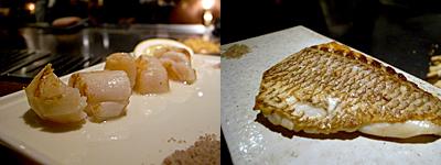 ステーキハウス ミディアムレア:帆立貝柱、本日の厳選魚介