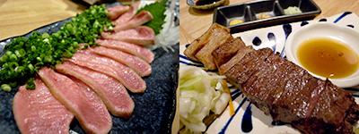 天神たんか:牛タンのタタキ、たんかの牛サガリ焼き