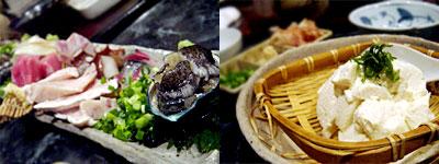 刺し盛りと、ざる豆腐