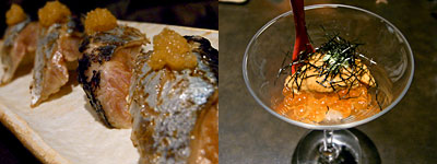 たつみ寿司 総本店:炙りさんまと、いくら&うに
