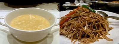 中国料理 桃林:コーンスープ、香港風焼きそば