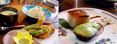料理店 野鳥:野菜の天ぷらと茶碗蒸し、田楽