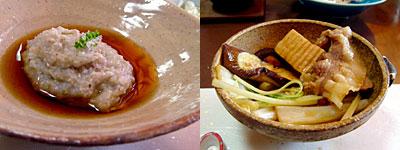 料理店 野鳥:そばがき、猪鍋
