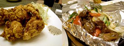 中華料理 金�Y(きんよう):鶏の唐揚げ、牛肉と野菜炒め