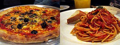 Kenji屋(ケンジヤ):黒オリーブとアンチョビのピザ、トマトパスタ