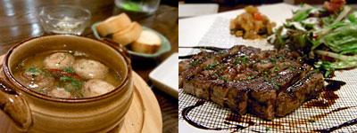 COMP. KITCHEN (コンプキッチン):マッシュルームのぐつぐつ、糸島産ロースのグリル バルサミコソース