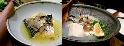 酒と飯 さぬいろ:塩サバのオイルサーディン、カキの酒蒸し