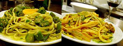煮こみの製麺所:月見オクラのペペロンチーノ、和牛ハチノスのトマトパスタ