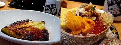 博多漁家 すし磯貝:つぼ鯛みそ焼き、ちらし寿司