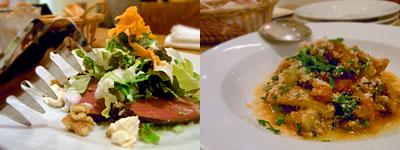 トラットリア ポルチェリーノ : 鴨のスモークとリコッタチーズのサラダ仕立て、トリッパと野菜の煮込み
