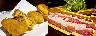 黒豚天国 豚のしっぽ:チーズの豚巻揚げ、黒豚のしゃぶ鍋