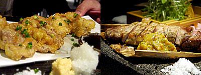 黒豚天国 豚のしっぽ:黒豚の天ぷら、黒豚の炙り焼き