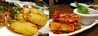 和韓 たもん:たもんポテト、キムチ盛り合わせ