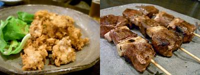 手打蕎麦 そばの実:そばがきの唐揚げ、鴨の串焼き