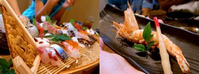 波乗り三太:刺身盛り、海老の塩焼き