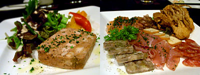 Dining ko-ya (ダイニング公屋):ポークと鶏レバーの田舎風テリーヌ、前菜いろいろ盛り合わせ