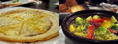港町市場 マルセイユ:4種のチーズとアンチョビのピザ、オリーブオイルフォンデュ