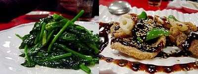 中華海鮮 威海(ウェイハイ):青菜のにんにく炒め、黒酢の酢豚