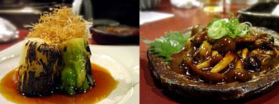 蕎麦と旬菜 晴や:下仁田ねぎ焼き、牡蠣の味噌焼き