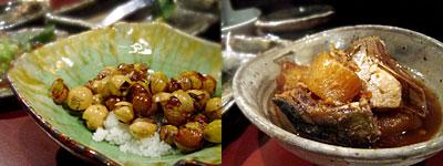 蕎麦と旬菜 晴や:銀杏の素揚げ、ブリ大根